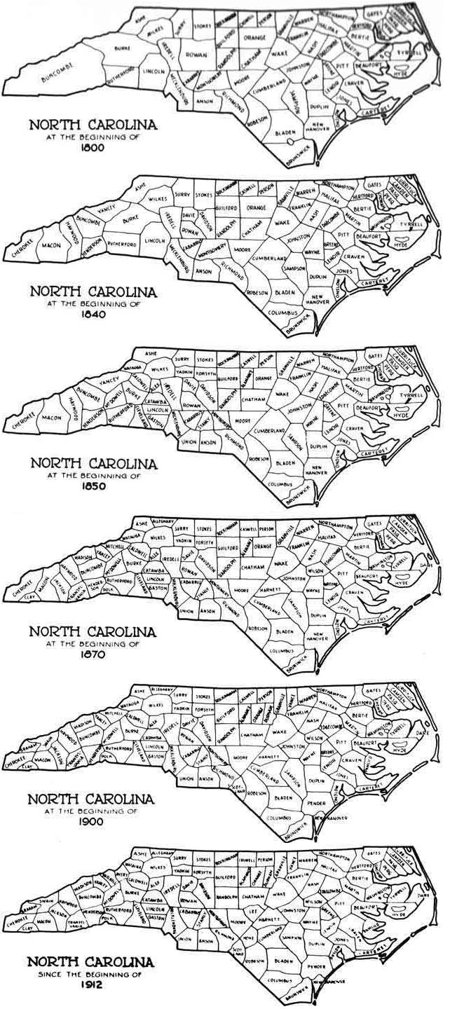 North Carolina Counties 1800-1912