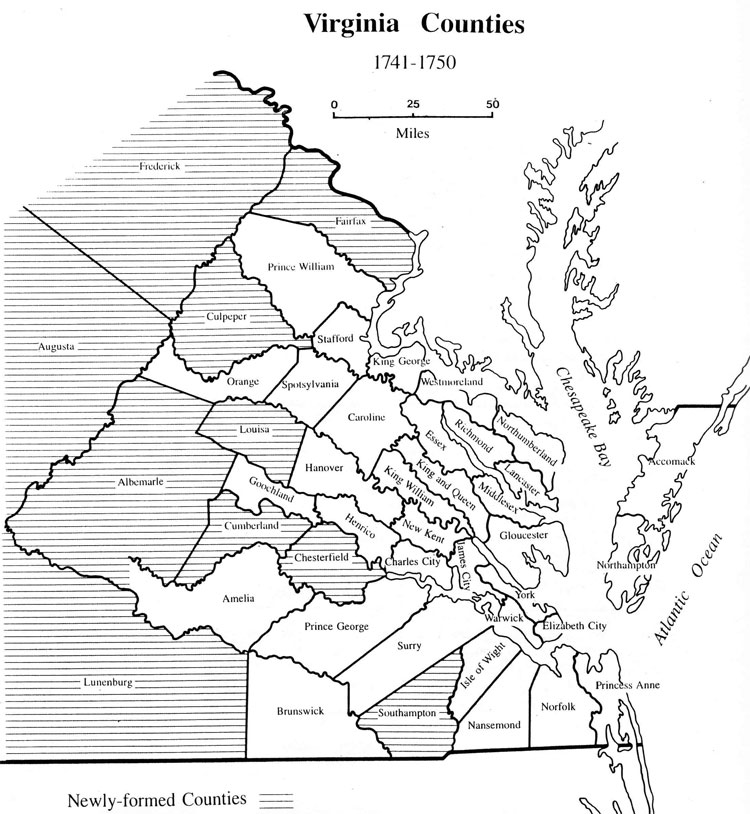 Albemarle County, VA was formed from Goochland County in 1744 (see map