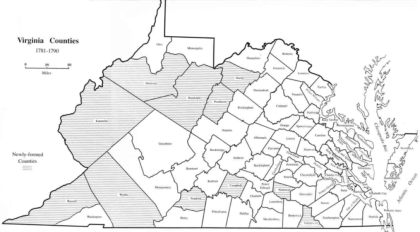 Virginia Map Lawson Surname DNA Project - Counties of va map
